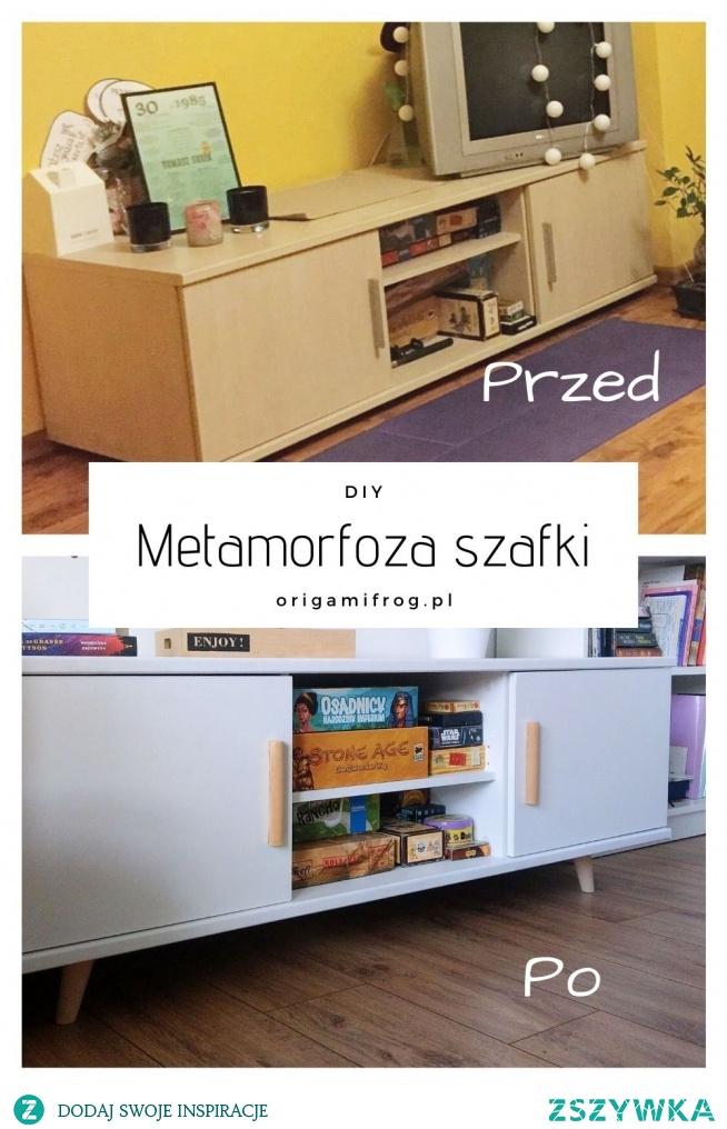 DIY Metamorfoza szafki pod telewizor, malowanie mebli, nowe drewniane uchwyty i skośne drewniane nóżki. Metamorfoza szafki w stylu skandynawskim • origamifrog.pl