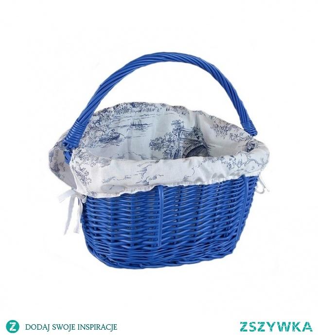 Niebieski kosz rowerowy - wiklina