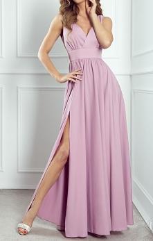 NADIA - Długa sukienka z ro...