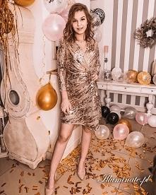 Złota cekinowa sukienka na ...