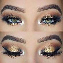 makijaż oczu czarno złoty