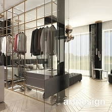 Pomysł na aranżację sypialni z garderobą: nowoczesna i elegancka otwarta przestrzeń jest wygodna i zarazem efektowna wizualnie. | UNPARALLELED ELEGANCE | Wnętrza domu