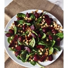 vegan spinach and beet salad