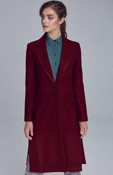 Jednorzędowy bordowy płaszc...