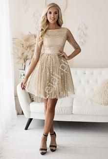 Krótka sukienka brokatowa w...
