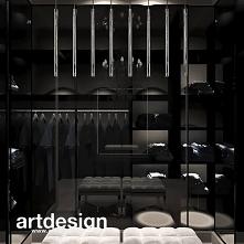Nowoczesna garderoba w ciemnych kolorach. Fronty ze szkła grafitowego pozwalają ukryć ubrania, stwarzając wrażenie porządku i elegancji. | POWER OF DESIGN | Wnętrza domu