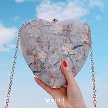 Chiński Styl Szary Aplikacje Kwiat W kształcie serca Kopertówki 2020