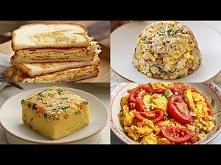 Dania z jajek: 1. cebulka, szynka, jajka + ryż 2. tosty po koreańsku 3. omlet po koreańsku