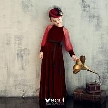 Eleganckie Burgund Welur Ur...