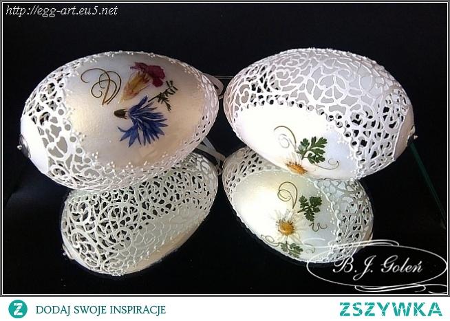 Ażurowe pisanki - suszone kwiaty na gęsich jajkach