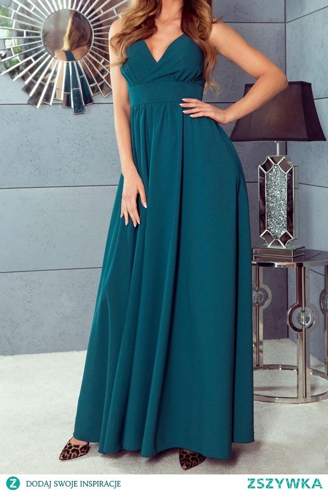 NADIA - Długa sukienka z rozcięciem i dekoltem szmaragdowa sukienkowo.com Kliknij w zdjecie by przejść do przedmiotu