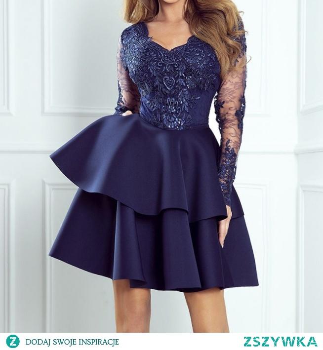 ANTONIA - Rozkloszowana sukienka z koronką dla wysokich granatowa sukienkowo.com kliknij w zdjecie by przejść do produktu