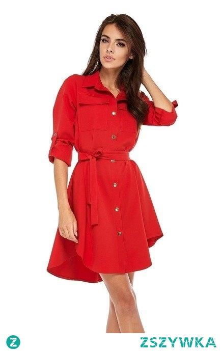Sukienka koszulowa szmizjerka wiązana w pasie