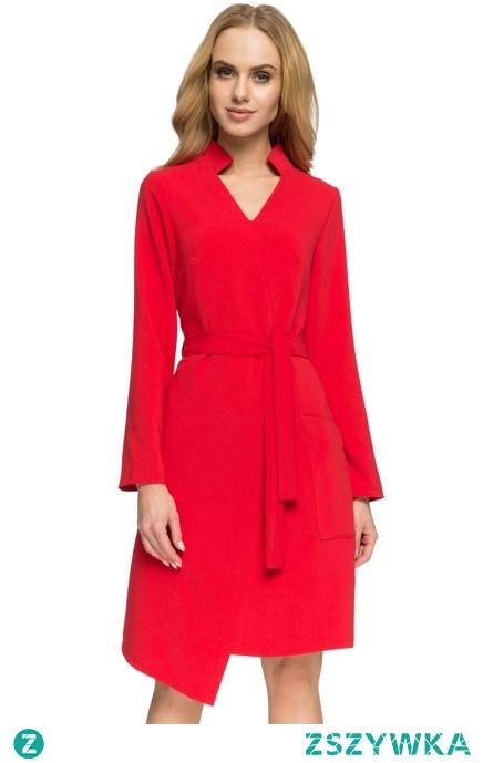 Sukienka szmizjerka z asymetrycznym przodem tkanina z wełną