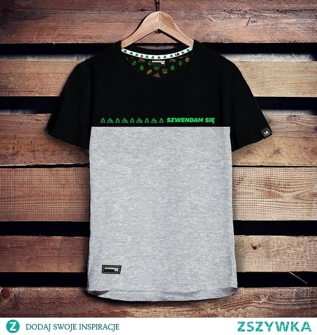 Koszulka męska SZWENDAM SIĘ czarno-szara