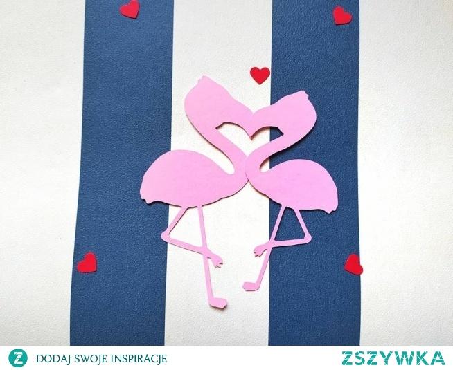 kartka walentynkowa, flamingi <3 fb: tworzymy wyjątkowe :)