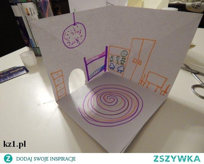 Domek 3D z kartek papieru. Świetna zabawka dla dzieci i nie tylko.