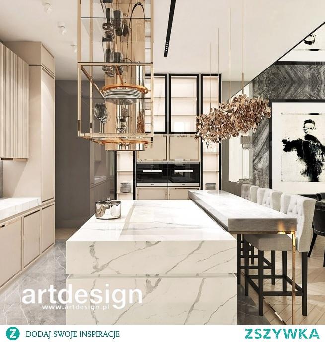 Luksusowa kuchnia z wyspą - eleganckie formy, lekkie kolory, wysublimowane detale. | UNPARALLELED ELEGANCE | Wnętrza domu