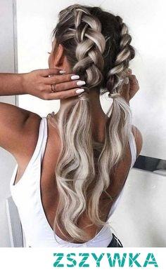 dutch braids into ponytails