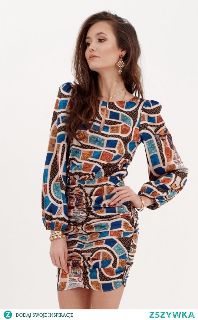 Roco Ołówkowa sukienka z bufiastymi rękawami 0280/S22