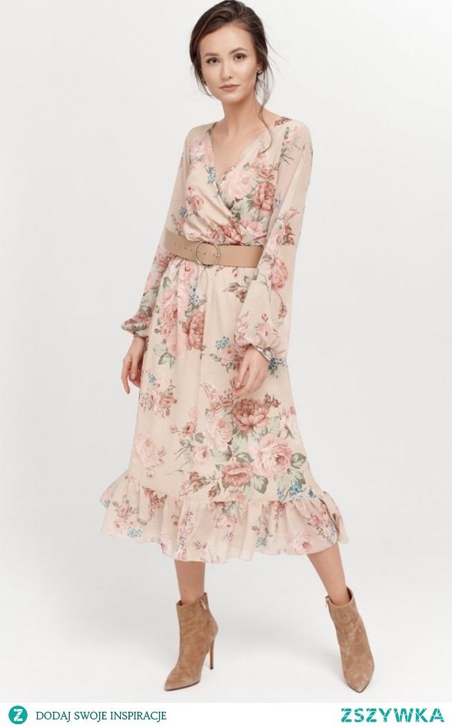 Roco Sukienka midi z falbaną w kwiaty 0241/R09