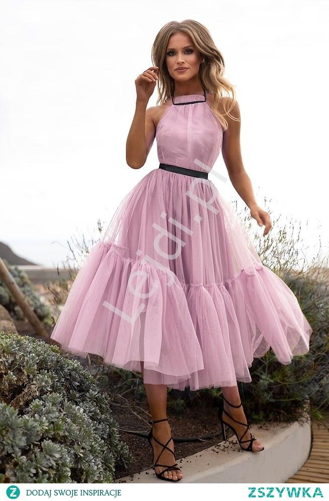 Zniewalająca sukienka wieczorowa w brudnym różu. Sukienka na wesele, na bale, na koktajl party. lejdi.pl