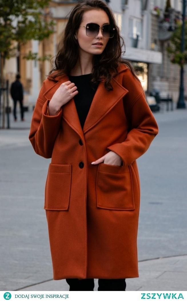Elegancki oversizowy płaszcz Roco rudy P013