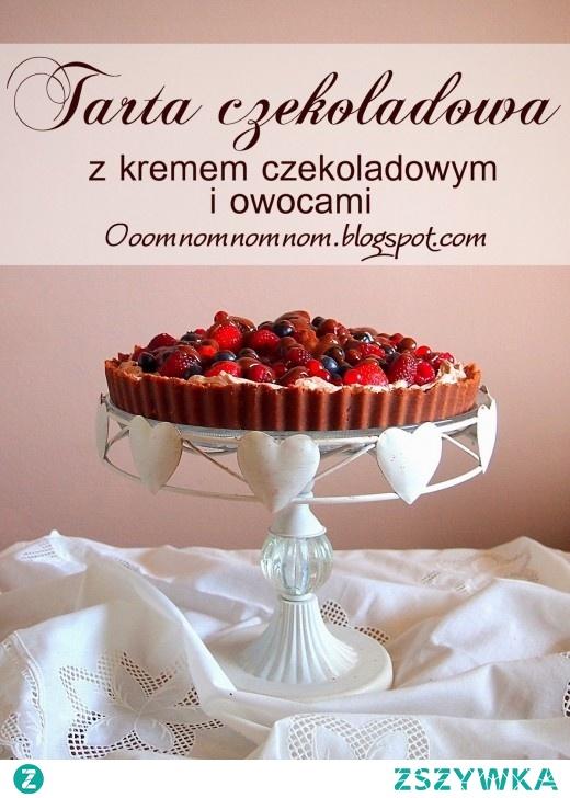 Czekoladowa tarta z kremem czekoladowym i owocami – tarta marzenie i to bez pieczenia :)
