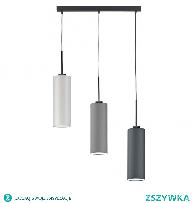 Nowoczesna forma oświetlenia, która może mieć uniwersalne zastosowanie. Lampa składa się z 3 abażurów w kształcie tuby, które umieszczone są na różnych kondygnacjach. Takie zestawienie doskonale sprawdzi się jako lampa nad stół do jadalni, ponieważ abażury skierowane w dół będą pięknie rozpraszać światło i oświetlać posiłki spędzane w gronie najbliższych. Dodatkowym atutem lampy jest indywidualny wybór kolorystyki abażurów, aby każdy mógł stworzyć oryginalną kompozycję barw do wystroju domu.  Lampa dostępna jest w kilkunastu kolorach abażura: biały, ecru, jasny szary, miętowy, musztarda, różowy, jasny fioletowy, beżowy, szary stalowy, czerwony, niebieski, fioletowy, zieleń butelkowa, granatowy, grafitowy, brązowy, czarny, szary melanż (tzw. beton). Oraz w 6 odcieniach stelaża: biały, czarny, srebrny, chrom, stal szczotkowana, stare złoto.