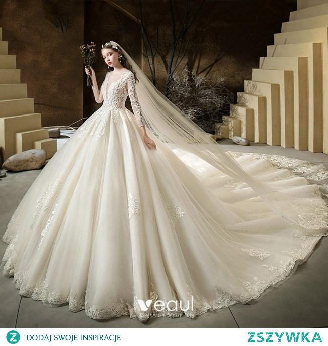 Iluzja Szampan Przezroczyste ślubna Suknie Ślubne 2020