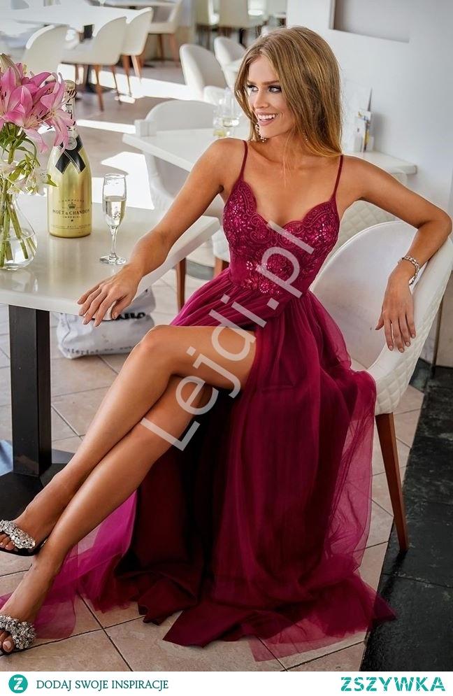 Długa bordowa suknia na cienkich ramiączkach. Długa bordowa sukienka wieczorowa. Suknia na studniówkę, suknia na wesele, suknia dla druhny, suknia na bal. lejdi.pl