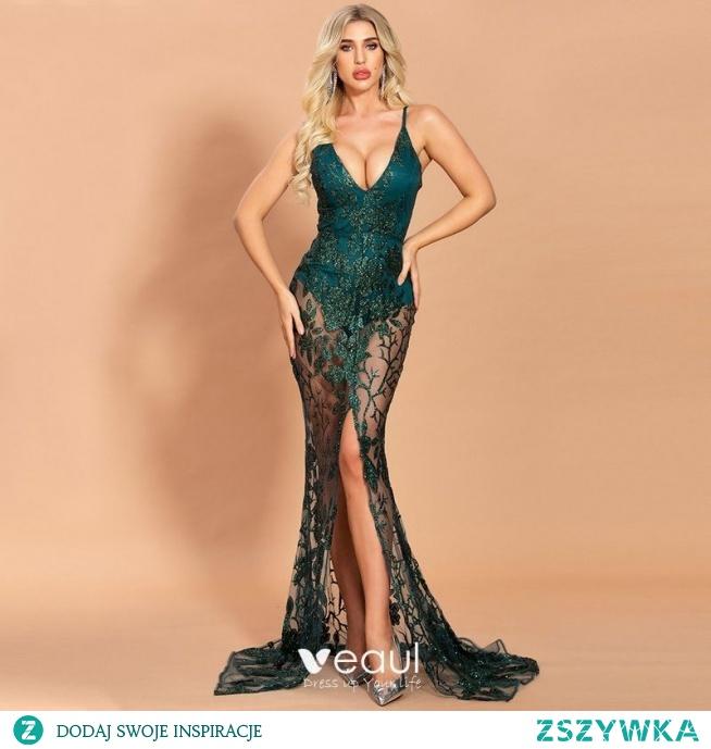 Seksowne Ciemnozielony Przezroczyste Sukienki Wieczorowe 2020