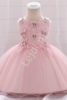 Tiulowa sukienka dla dziewczynki. Jasno różowa sukienka dla dziewczynki. Dziecięca sukienka różowa. Sukienka na roczek. sukienka na wielkanoc lejdi.pl