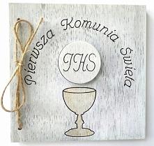 Drewniana kartka I Komunia ...