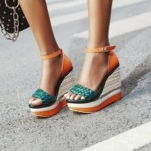 Piękne Pomarańczowy Zużycie ulicy Sandały Damskie 2020 Z Paskiem Wodoodporne Peep Toe 13 cm Na Koturnie Sandały