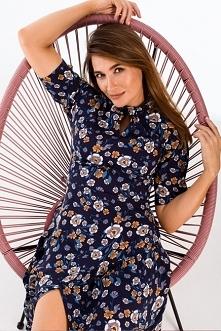 Kwiecista sukienka z falbaną u dołu Sukienki.shop