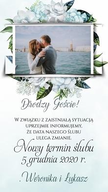 Zawiadomienia o zmianie daty ślubu do wysyłania wszystkich zaproszonym gościom na telefon.
