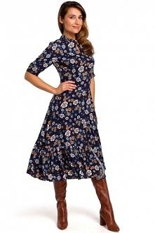 Kwiecista sukienka z falban...