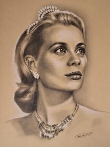 Grace Kelly, ołówek, biała ...