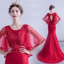 Piękne Burgund Sukienki Wieczorowe 2020 Syrena / Rozkloszowane Wycięciem Frezowanie Cekiny Z Koronki Kwiat 1/2 Rękawy Bez Pleców Trenem Sweep Sukienki Wizytowe