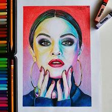 Po długiej przerwie, wracam z rysunkiem kredkami Seleny Gomez ♥ Kredki jakimi malowałam to:  Koh-I-Noor oraz Pentel