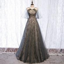Uroczy Szary Sukienki Wieczorowe 2020 Princessa Wycięciem Frezowanie Rhinestone Cekiny Kótkie Rękawy Bez Pleców Długie Sukienki Wizytowe