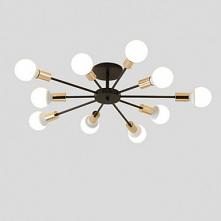 10-Light 10-Head Vintage Metal Semi Flush Mount Ceiling Light Living Room Din...