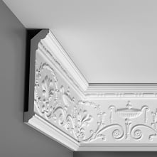 Gzyms C308 Orac Decor Luxxus to bogato zdobiona listwa sufitowa. Idealna sztukateria do tworzenia ścian w dawnym stylu georgiańskim. Po przez swoje wyraźne i piękne ornamenty st...