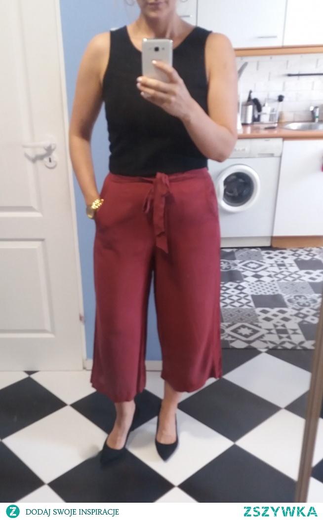 SPRZEDAM spodnie kuloty w kolorze czerwonego wina, bordowe M - 25 zł