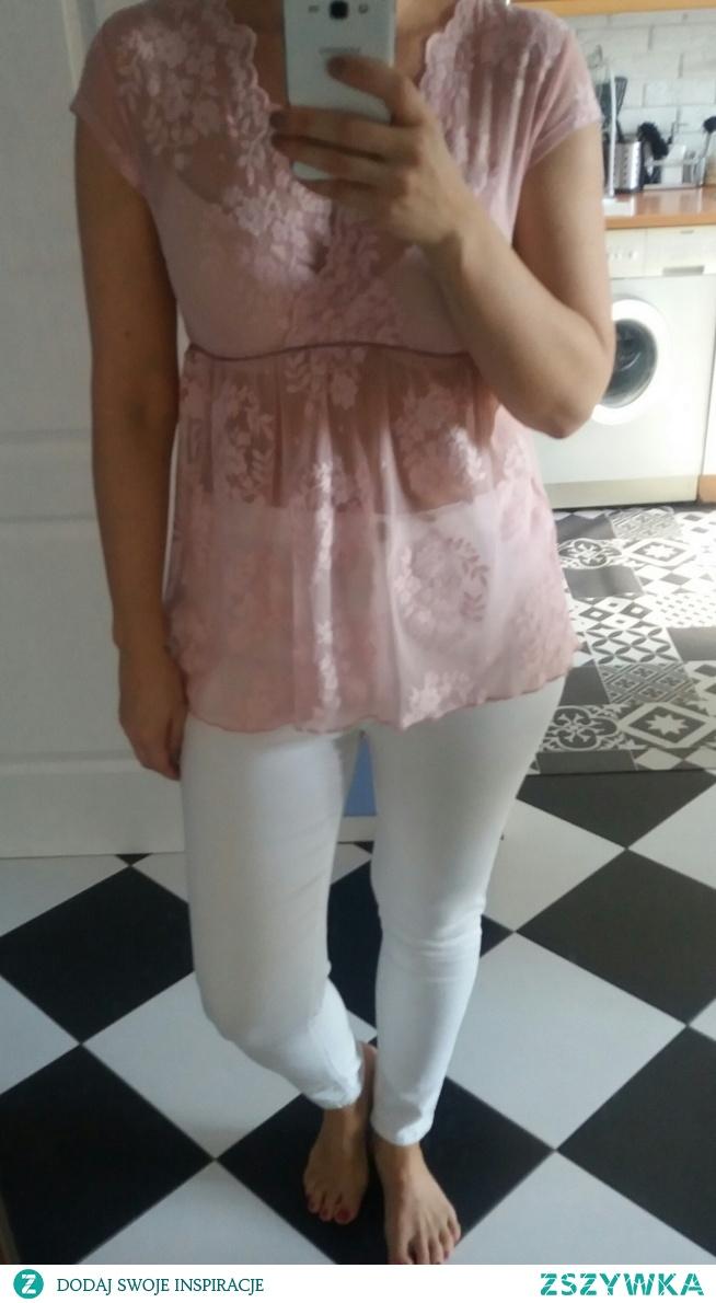 SPRZEDAM bluzka koronkowa, pudrowa pastelowa S - 10 zł