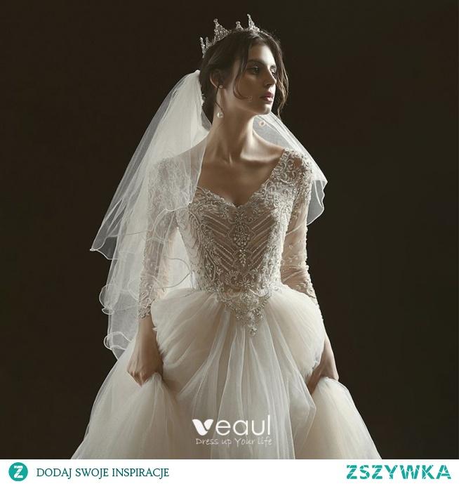 Luksusowe Szampan Przezroczyste ślubna Suknie Ślubne 2020