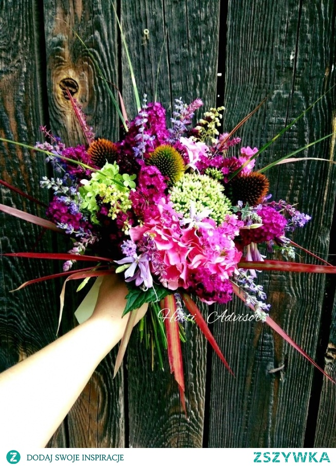 Summer bouquet made of horticultural plants such as Echinacea, Hydrangea, Crane, Lavender and Imperata Grass