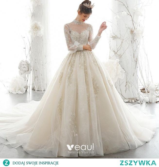 Wiktoriański Styl Szampan Przezroczyste Suknie Ślubne 2020