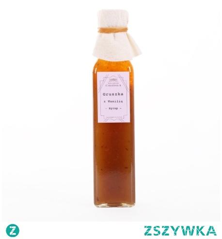 Syrop gruszka z wanilią 67% ekologiczny sok z gruszki, 32% cukru trzcinowego, syrop z cytryny, 0,5 % ekologicznego ekstraktu z wanilii . Polecany do herbaty, kawy, drinków lub lemoniady.
